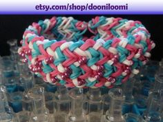 Pretty Rainbow Loom Thick Weave Braid Beaded Pink by DooniLoomi, $10.00
