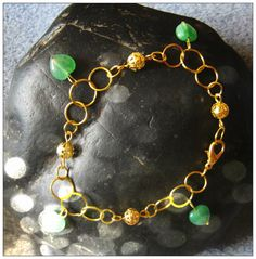 Beautiful Gold Jewelry Set Bracelet & Earrings with Green Aventurine Hearts by IreneDesign2011