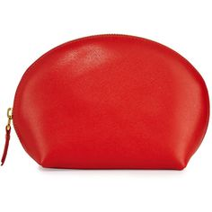 Neiman Marcus Large Dome Leather Cosmetic Bag (130 RON) ❤ liked on Polyvore featuring beauty products, beauty accessories, bags & cases, orange, dop kit, makeup purse, makeup bag case, toiletry bag and travel kit