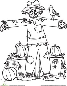 The scarecrow on this coloring page doesn't really seem to be doing his job—instead of scaring the crows away, he's giving them a friendly smile! Your child will smile, too, as he gives color to this adorable scarecrow coloring page. Thanksgiving Coloring Pages, Fall Coloring Pages, Thanksgiving Crafts, Adult Coloring Pages, Coloring Sheets, Coloring Books, Autumn Crafts, Autumn Art, Autumn Theme