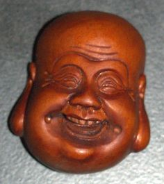 #Antique #Hand #Carved #Wood #Netsuke #Happy #Smiling #Buddha #Face #Head #Japan #Signed