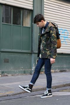 Camo jacket and Vans chukka