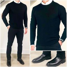 This is one of my favorite winter weather combos.dark gray pants, a black sweater over a white oxford shirt, and black shoes or… Mens Outdoor Fashion, Stylish Mens Fashion, Fashion Moda, Men's Fashion, Smart Casual Men, Casual Wear For Men, Black Outfit Men, Style Masculin, Black Chinos