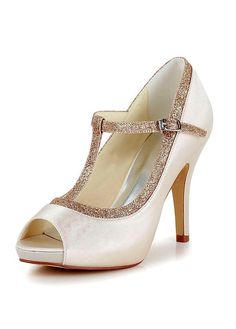 *-* Fashionable Satin Upper Peep Toe Stiletto Heels Bridal Shoes With Fine Shimmering Powder #blowout