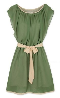 green round neck self-tie waist chiffon dress