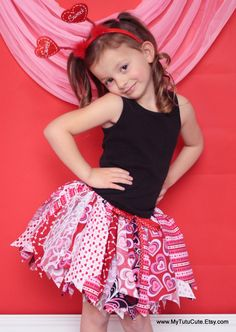 VALENTINES Fabric Scraps Tutu Skirt Pink and Red by mytutucute