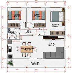 Plano de casa prefabricada de 3 dormitorios con medidas en - Casas prefabricadas guadalajara ...