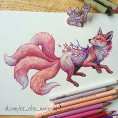 Pink Sakura fox drawing inspired by my pink fox pin. Colour pencils on arches paper Cute Animal Drawings, Cool Drawings, Drawing Sketches, Drawing Art, Cute Fox Drawing, Drawing Ideas, Mythical Creatures Art, Fantasy Creatures, Art Fox