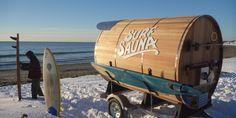 Un sauna mobile pour faire du surf l'hiver Cold water surfing, winter surf, surf en eau froide