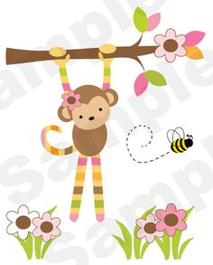 "JUNGLE MOD MONKEY WALL MURAL DECALS BABY GIRL NURSERY KIDS ROOM STICKERS DECOR measures 41"" Tall and 33"" Wide."