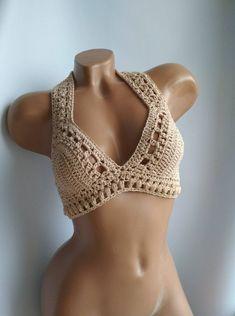 Crochet top, crochet beige top