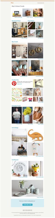 Etsy includes top Pins in its email of monthly trends.