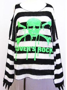 Striped & Knitted Punk Long Sleeve T-Shirt w/ Nail Green. See more at: http://www.cdjapan.co.jp/apparel/superlovers.html #harajuku #SUPER LOVERS