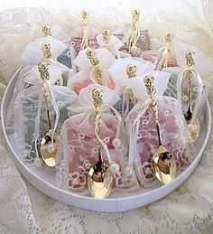 12 Assorted Tea Bag and Gold Rose Demi Spoon Favors in Embroidered Ivory Favor Bags
