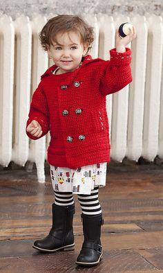 OMG, SO cute! Pee-wee #crochet coat! FREE pattern!