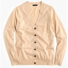 J.Crew Classic V-Neck Cardigan Sweater ($130) ❤ liked on Polyvore featuring tops, sweaters, j.crew, relaxed fit tops, vneck tops, beige top and v neck sweater