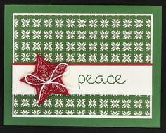 Stampin' Up! Christmas Quilt Cardstock: quilted Christmas designer series paper, garden green, real red, whisper white Ink: garden green Accessories: stitched felt embellishments, whisper white baker's twine