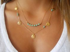 Hey, I found this really awesome Etsy listing at https://www.etsy.com/il-en/listing/251015764/turquoise-necklace-set-of-2-necklaces