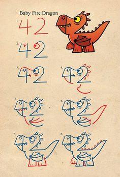 Quem diria que o número 42 se transformaria em um bebê dragão!