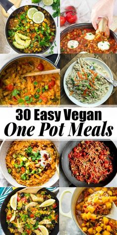 Oh, how I love one pot recipes! These 30 easy vegan one pot meals are perfect fo… Oh, how I love one pot recipes! These 30 easy vegan one pot meals are perfect for busy days! All of these vegetarian recipes are complete meals that are made in only one coo Clean Eating Vegetarian, Vegan Meal Prep, Vegan Dinner Recipes, Vegan Dinners, Clean Eating Recipes, Cooking Recipes, Vegetarian One Pot Meals, Vegan Vegetarian, Simple Vegan Meals