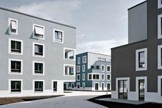 0912_Schenefelder Gärten_552-006_2_RGB Architecture Visualization, Facade Architecture, Residential Architecture, Arch House, Facade House, Building Facade, Building A House, Exterior Paint Color Combinations, Student House
