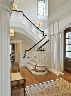 Traditional Staircase Design, Pictures, Remodel, Decor and Ideas - ***great for the front entrance staircase, and another staircase leaving the kitchen/family area*** House Design, Future House, House, Traditional Staircase, Staircase Design, Beautiful Interiors, Entry Hall, House Styles, Stairs