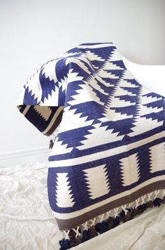 Handwoven navy and off-white rug with tassles and triangle pattern (dhurrie) - Custom size & colors