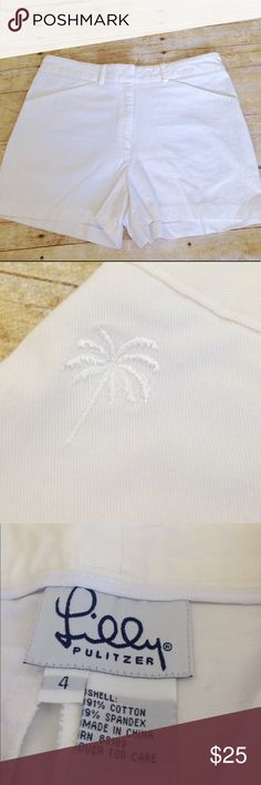 Lilly Pulitzer white shorts size 4 Cute Lilly Pulitzer shorts.  Zipper with hook closure. Lilly Pulitzer Shorts