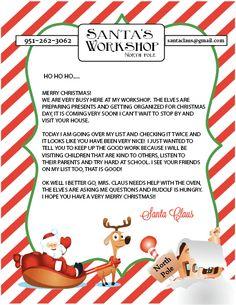 Letter From Santa Template. 29 Letter From Santa Template. Free Printable Santa Letters, Free Letters From Santa, Personalized Letters From Santa, Santa Letter Template, Templates Printable Free, Letter Templates, Free Printables, Printable Tags, Christmas Letter From Santa