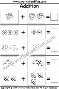 Picture Addition – Sums up to 5 – Two Worksheets