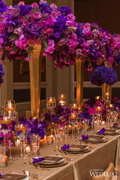 Tablescape in purples and deep pinks with gold accents | Karen Tran Master Floral Class