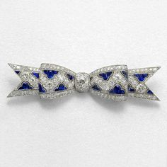 Art Deco Platinum, Sapphire and Diamond Bow Brooch Brooches Jewelry Antique Jewelry Tiffany Lamps Art Nouveau