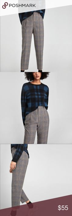 74ba27d817 NWOT Zara High Waisted Tapered Ankle Checked Pants Checked high waist  trousers with front darts