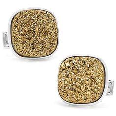 Sterling Gold Square Druzy Cufflinks