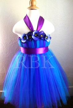 Flower Girl Dress Purple and Turquoise Tutu Dress by RBKBoutique