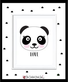 Panda Love Poster Print by thetickledpinkfox on Etsy Cute Poster, Love Posters, Panda Love, Poster Prints, Unique Jewelry, Handmade Gifts, Illustration, Room, Etsy