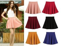 Women Candy Color Stretch Waist Plain Skater Flared Pleated casual Mini Skirt
