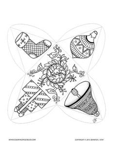 Christmas coloring pages for grown ups. This is a printable Christmas coloring project that you color and assemble into a charming pyramid shaped ornament or gift box. It is decorated with a Christmas stocking, a Christmas ornament, a stack of gifts, and a bell with a wreath and birds on the bottom. The designs were hand drawn by Jennifer Stay. Assembly directions are provided on her website, www.coloringpagesbliss.com