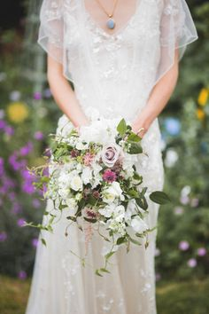 Azalea by Jenny Packham and a beautiful summer time wedding bouquet.  http://www.mandjphotos.com/