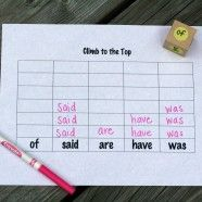 Climb to the Top - great sight word game. could be used with letters for toddlers.