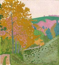 Herbstlandschaft - Herbst auf der Oschwand, 1906 by Cuno Amiet. Spring Landscape, Garden Painting, Post Impressionism, Art Database, Vintage Artwork, Oeuvre D'art, Painting Inspiration, Landscape Paintings, Art Nouveau