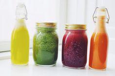 juice party | yellow juice, green juice, red juice, and orange juice | via a million miles
