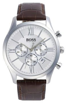 BOSS 'Ambassador' Chronograph Leather Strap Watch, 44mm available at #Nordstrom