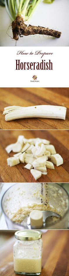 How to Prepare Horseradish ~ How to make homemade horseradish by grating horseradish root and adding vinegar. Homemade prepared horseradish is about twice as strong as store-bought versions, and lasts about 3 to 4 weeks in the refrigerator. Homemade Horseradish, Horseradish Sauce, Horseradish Recipes, Growing Horseradish, Horseradish Plant, A Food, Good Food, Food And Drink, Sauces