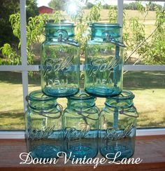 5 Blue Ball Mason Jars with WIRE Handles WITH or WITHOUT glass lids Quart Size Great for hanging lanterns