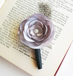 Silver Satin Boutonniere with Pearl and Spotted por BloominCute, $15.00  Comes in purple too