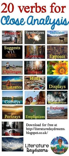 Always finding new ways to fall in love with English Literature. Mini posters with 20 verbs to use in literary analysis. Academic Writing, Teaching Writing, Writing Skills, Essay Writing, Teaching English, English Teachers, Teaching Resources, Diary Writing, Writing Prompts