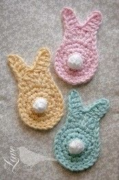 [Free Pattern] Quick And Easy Crochet Spring Bunny Pattern Crochet Bunting, Love Crochet, Crochet Motif, Crochet Flowers, Knit Crochet, Crochet Appliques, Beautiful Crochet, Crochet Crafts, Yarn Crafts