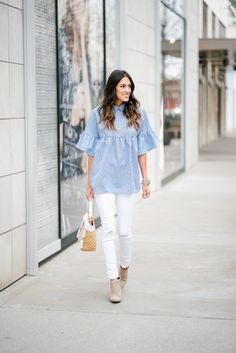Blue and White Striped Peter Pan Top, White Ripped Jeans, Tan Booties and Elaine Turner Seraphina Bag