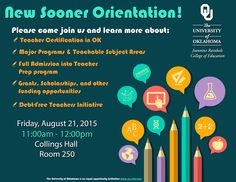 Want to learn what the Jeannine Rainbolt College of Education has to offer? Come to New Sooner Orientation on Aug. 21 from 11 a.m.-12 p.m.